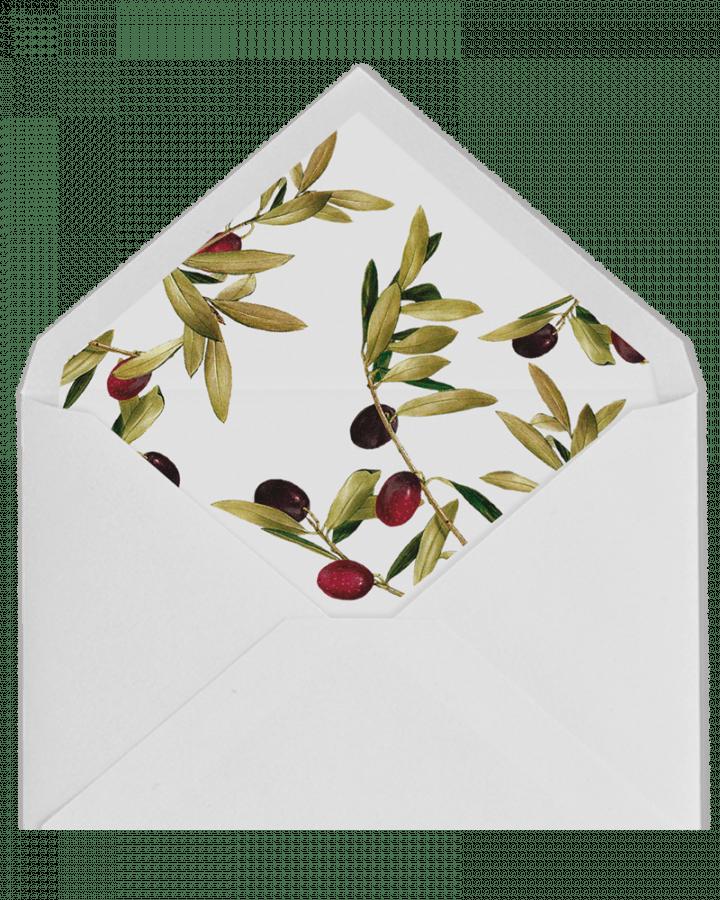 Olivo. Sobre forrado e invitaciones de boda con olivo. www.srysra.es