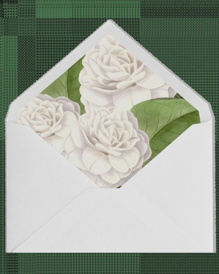Sobre forrado de Camelias Blancas para invitaciones de boda en www.srysra.es