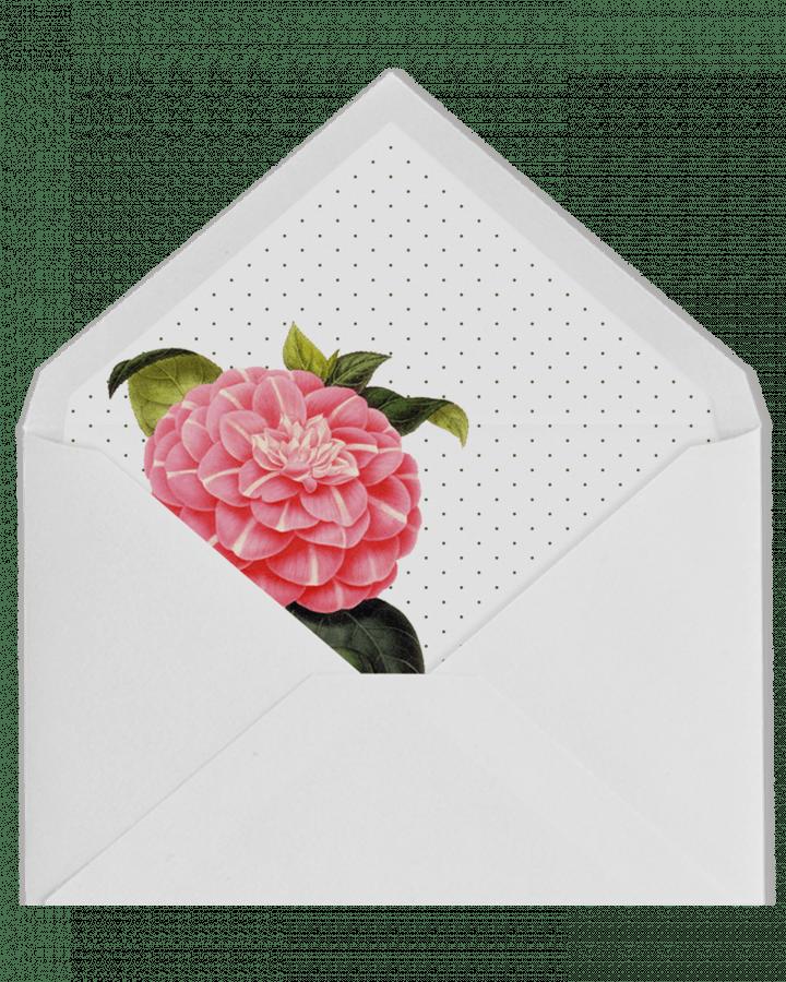 Sobre forrado con camelia rosa y plumeti para invitaciones de boda en www.srysra.es