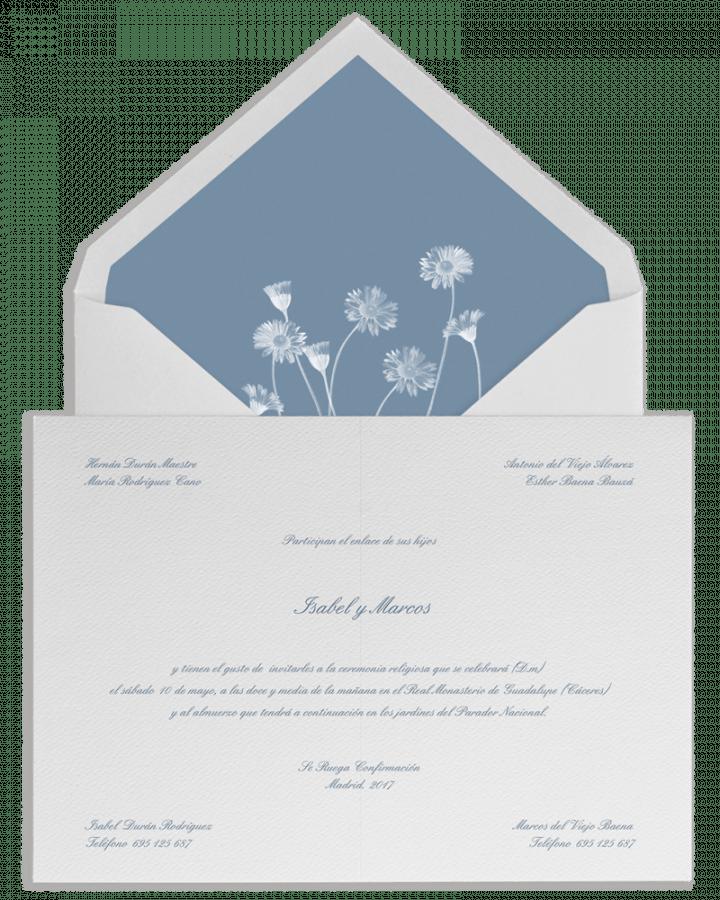 Margaritas. Sobre forrado e invitaciones de boda con margaritas. www.srysra.es