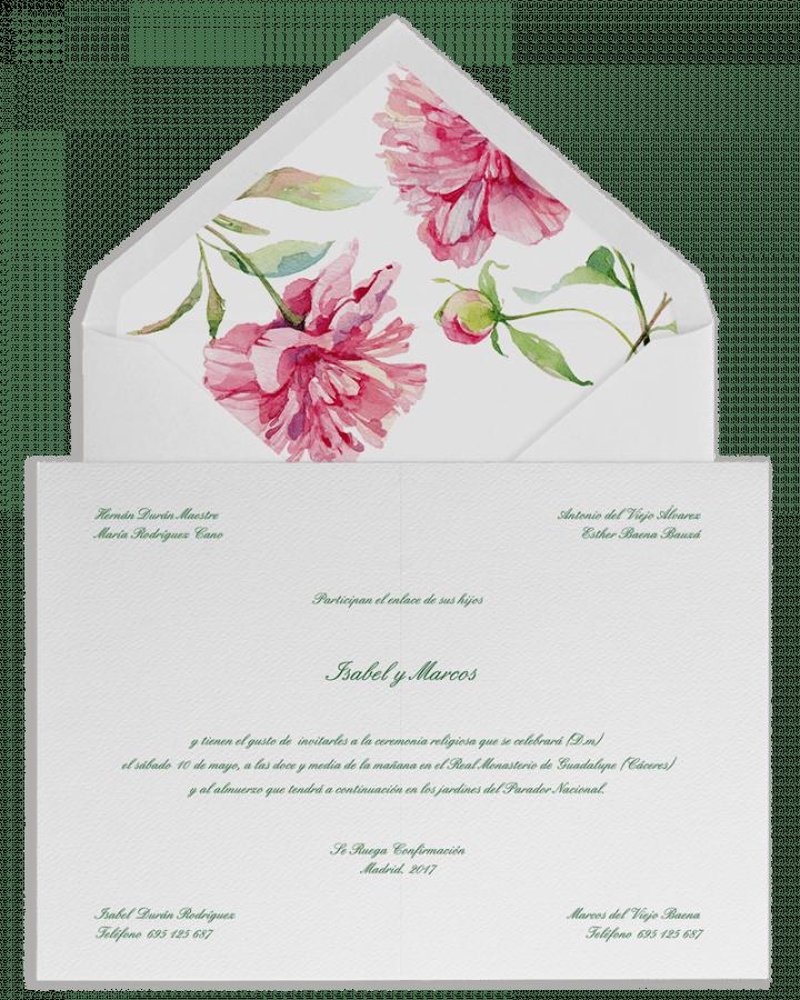 Sobre forrado e Invitaciones de boda personalizadas con peonias en acuarela. srysra.es