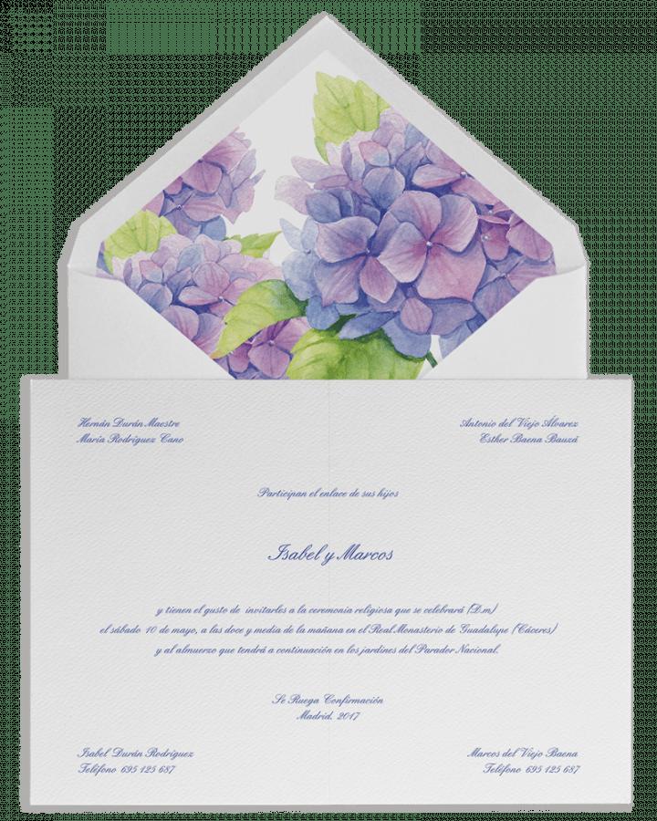 Hortensias. Sobre forrado e invitaciones de boda con hortensias. www.srysra.es
