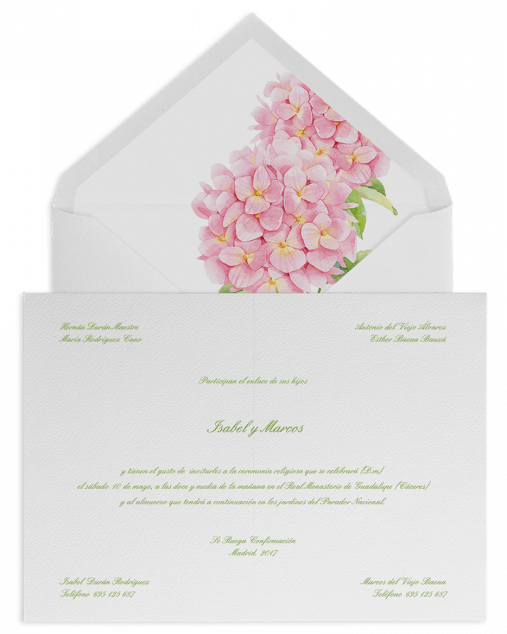 Hortensias rosas. Sobre forrado e invitaciones de boda con hortensias rosas. www.srysra.es