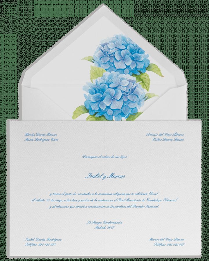 Hortensias azules. Sobre forrado e invitaciones de boda con hortensias azules. www.srysra.es