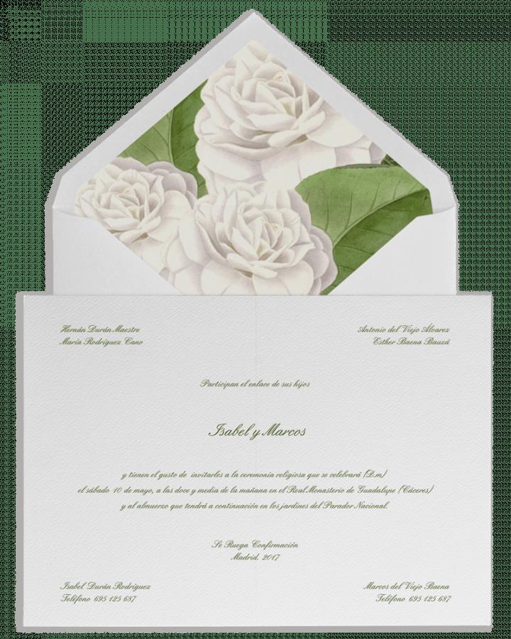 Camelias. Sobre forrado e invitaciones de boda con camelias. www.srysra.es