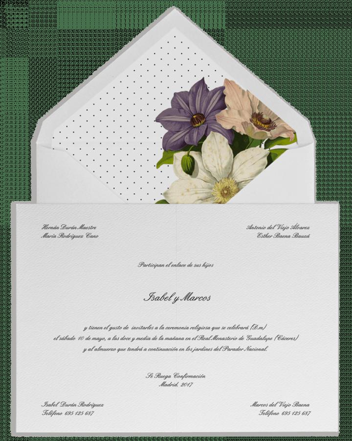 Plumeti campestre. Sobre forrado e invitaciones de boda con plumeti y motivos florales. www.srysra.es