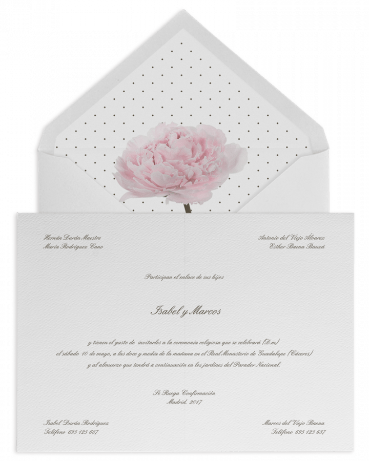 Peonia. Sobre forrado e invitaciones de boda con peonia y plumeti. www.srysra.es