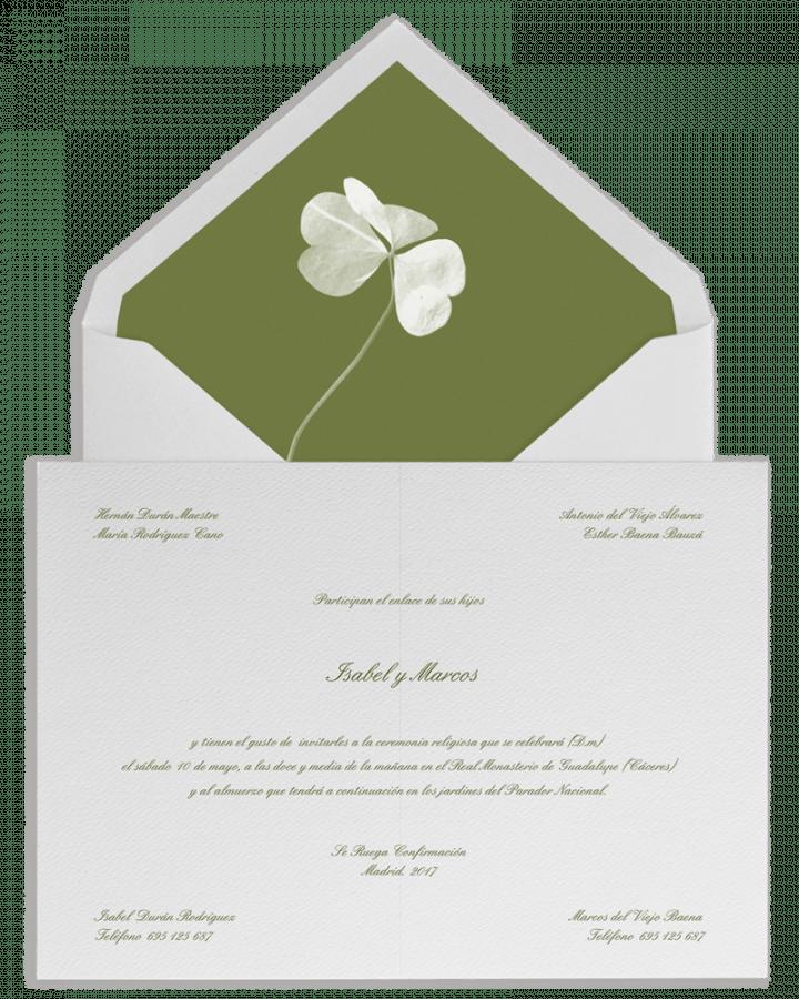 Trebol. Sobre forrado e invitaciones de boda con trebol. www.srysra.es